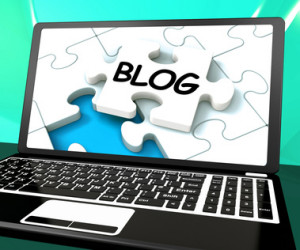 Blog On Laptop Showing Online Web Blogging Or Weblog Website
